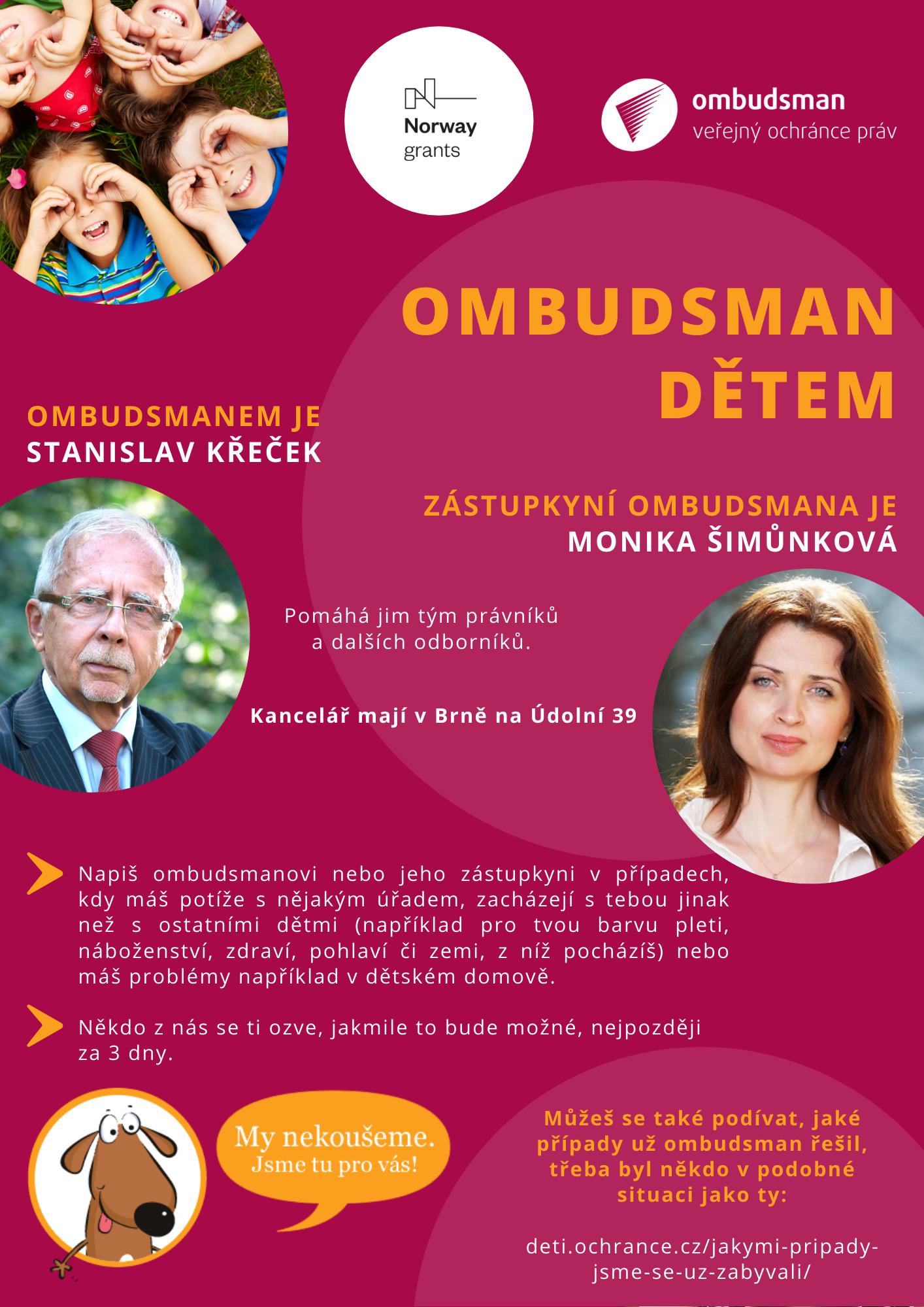 Působnost veřejného ochránce práv - kontaktní údaje na dětského ombudsmana