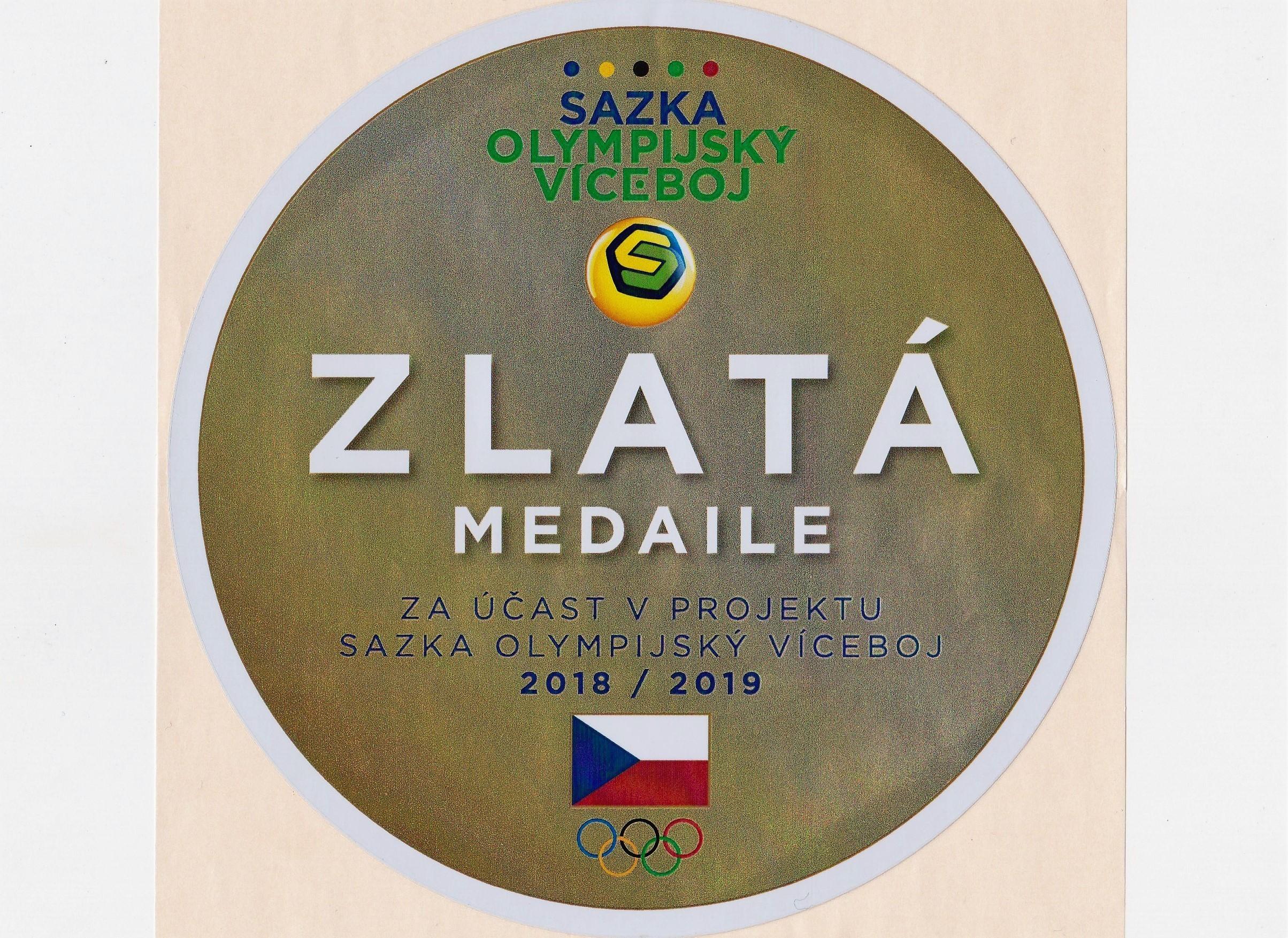 Zlatá medaile  v projektu Sazka olympijský víceboj