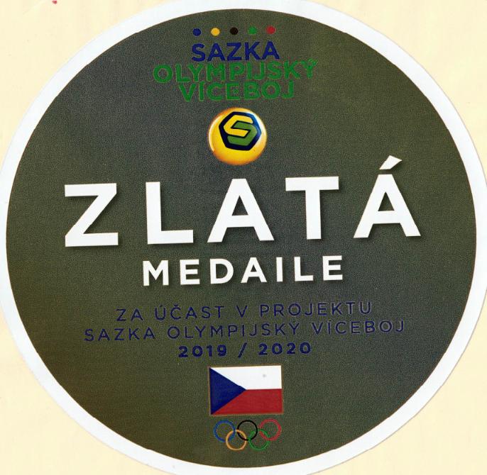 Zlatá medaile naší škole v projektu Sazka olympijský víceboj